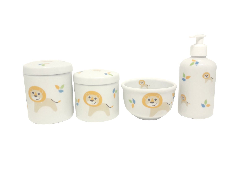 Kit Higiene Bebê Porcelana Safari| Leão e Leãozinho | 4 peças