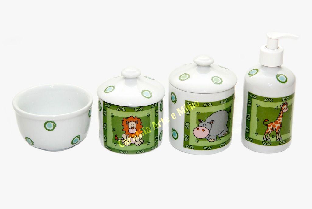 Kit Higiene Bebê Porcelana | Safari | Selva | Bichinhos| 4 peças