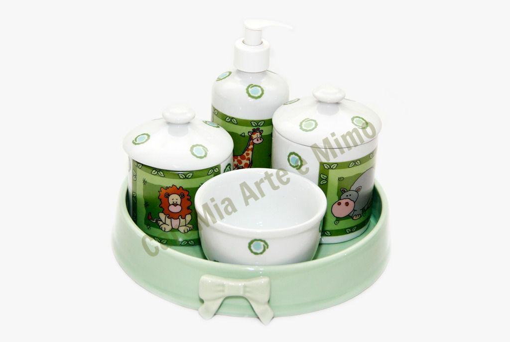 Kit Higiene Bebê Porcelana Safari| Selva | Bichinhos| 5 peças
