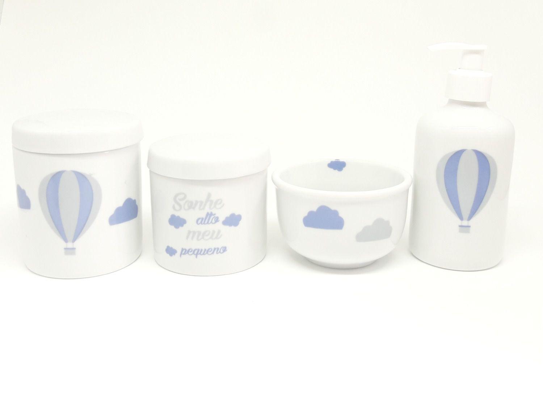 """Kit Higiene Bebê Porcelana """"Sonhe alto Meu Pequeno"""""""
