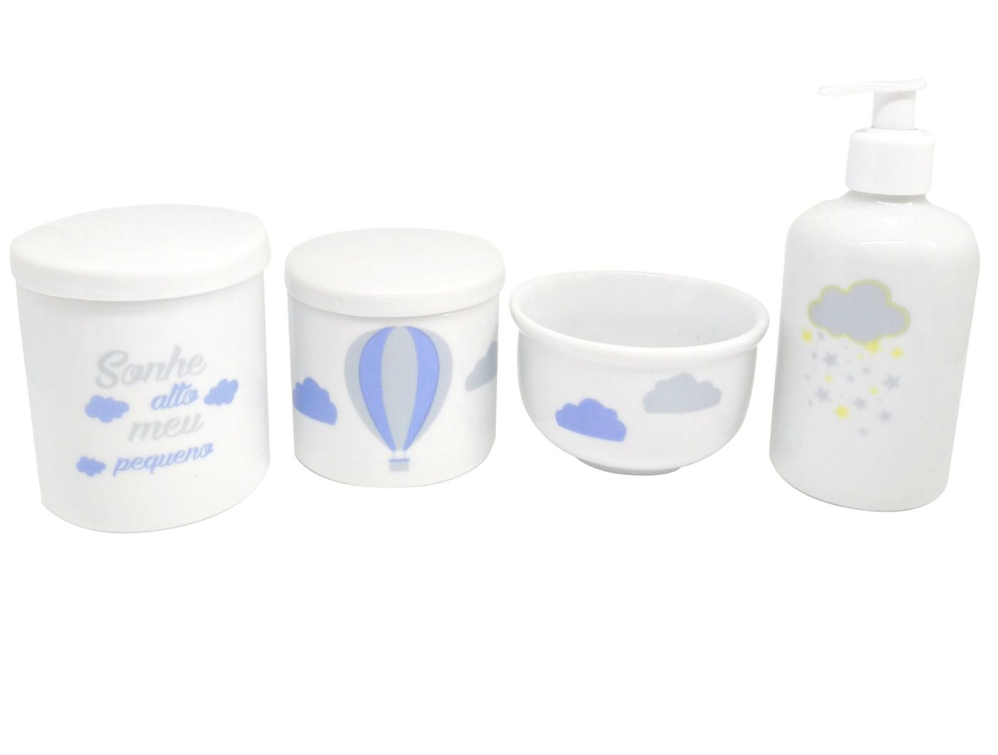 Kit Higiene Bebê Porcelana | Sonhe Alto Meu Pequeno & Balão Azul & Nuvem & Chuva de Estrelas Amarelas e Cinzas| 4 peças
