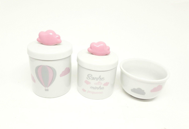 Kit Higiene Bebê Porcelana| Sonhe Alto Minha Pequena| Balão Rosa | Aplique Nuvem | Tampa Branca