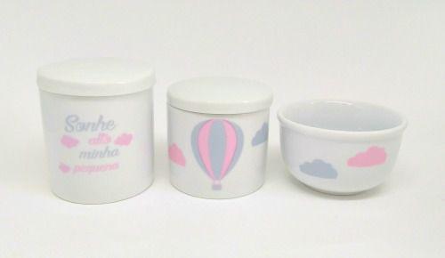 Kit Higiene Bebê Porcelana | Sonhe Alto Minha Pequena & Balão Rosa & Nuvem | 3 peças
