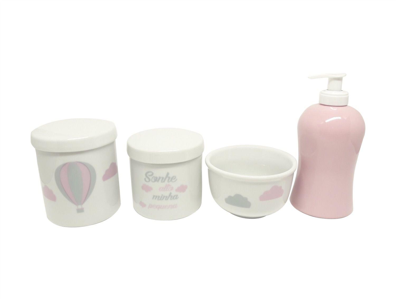 Kit Higiene Bebê Porcelana | Sonhe Alto Minha Pequena & Balão Rosa & Nuvem | 4 peças