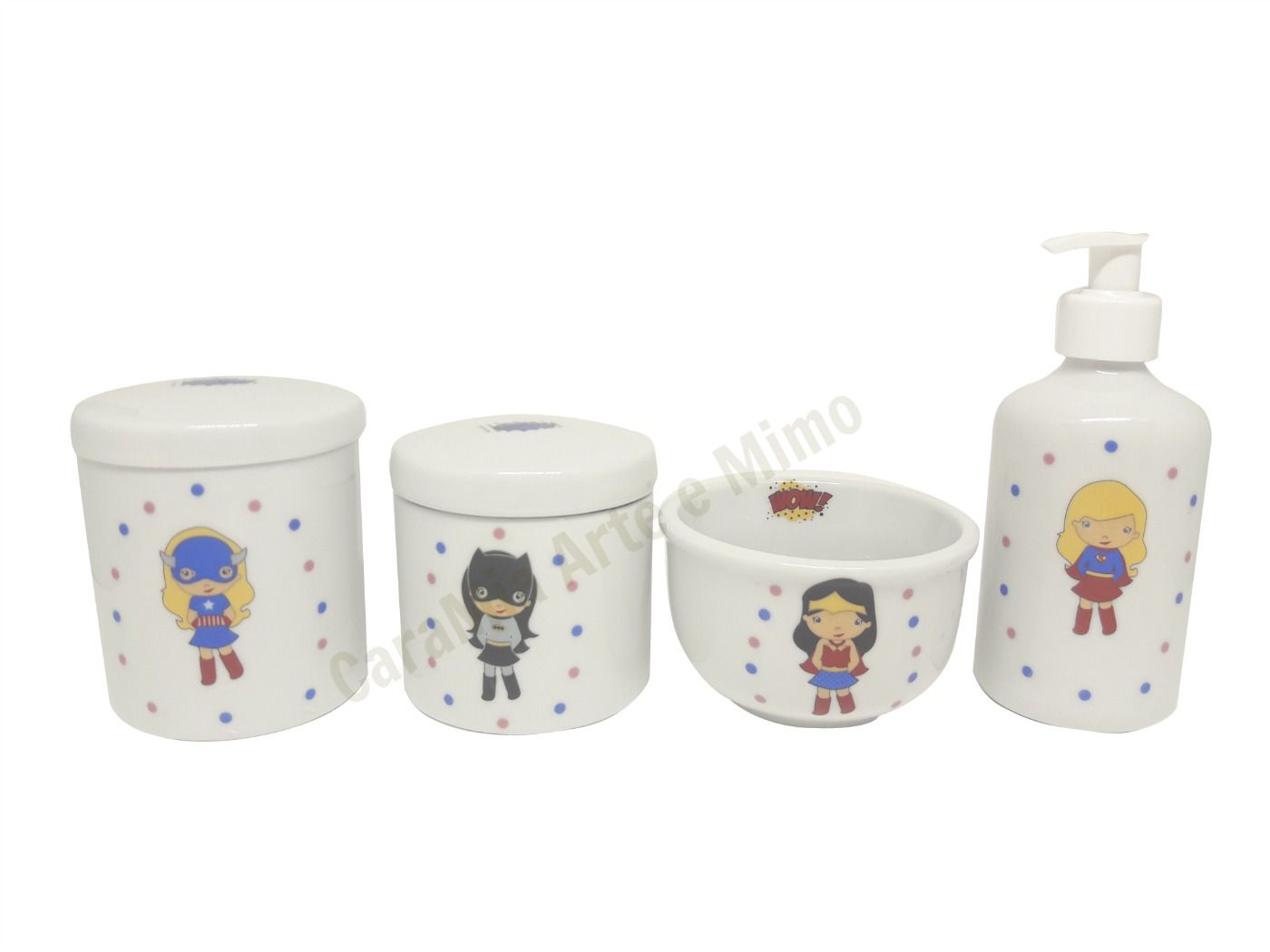 Kit Higiene Bebê Porcelana | Super Heroínas Kids| 4 peças