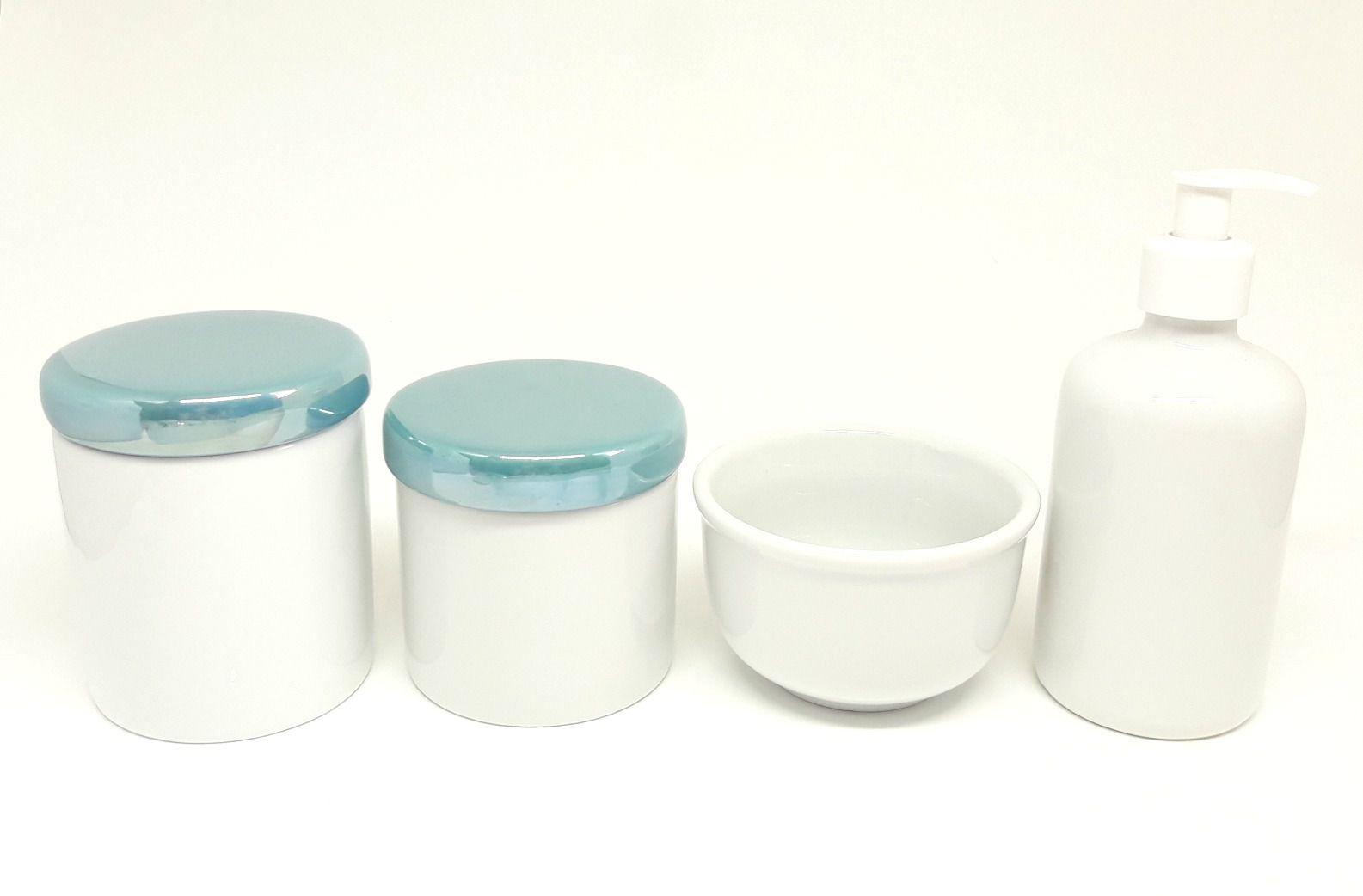 Kit Higiene Bebê Porcelana | Tampas Perolizadas |Verde Esmeralda |4 peças