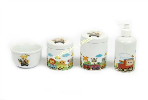 Kit Higiene Bebê Porcelana | Trenzinho | Safari| Selva | Bichinhos| 4 peças