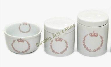 Kit Higiene Bebê Porcelana | Um Reinado Coroa Rosa | 3 Peças