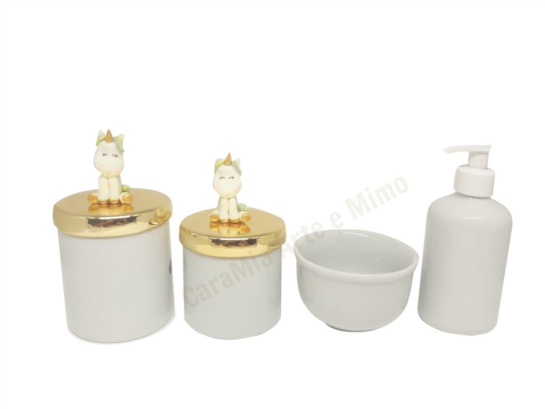 Kit Higiene Bebê Porcelana | Unicórnio Em Biscuit | Tampas Douradas Metalizadas