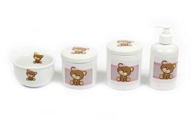 Kit Higiene Bebê Porcelana | Ursa/ Ursinha com Faixa Rosa | 4 Peças |
