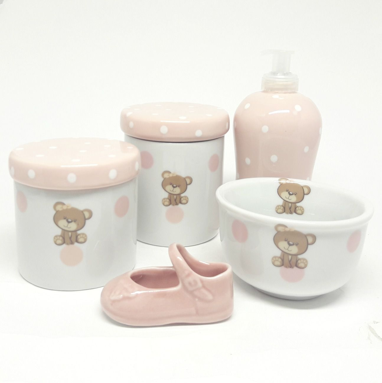 Kit Higiene Bebê Porcelana Ursa/ Ursinha com poá |4 peças