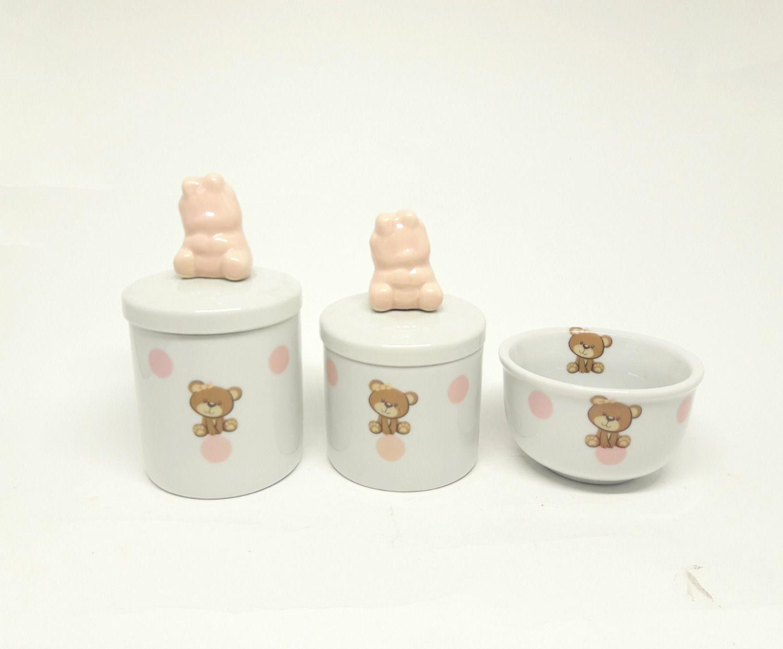 Kit Higiene Bebê Porcelana |Ursa, Ursinha e Poá | Aplique de Ursa com lacinho | 3 peças
