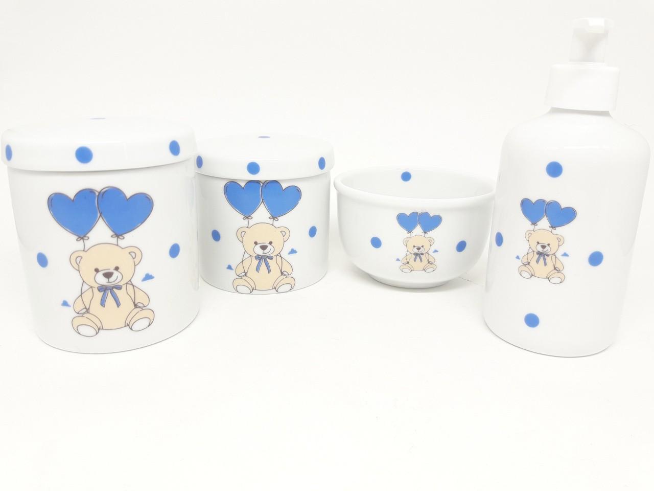 Kit Higiene Bebê Porcelana Urso com balão de coração