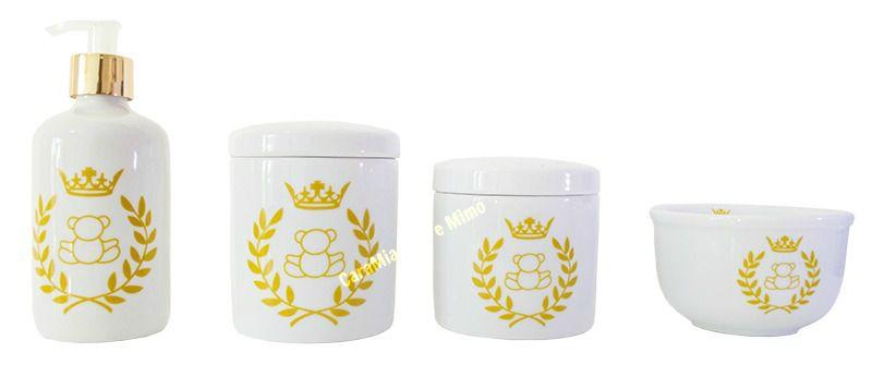 Kit Higiene Bebê Porcelana| Urso ? Ursinho | Coroa Dourada| 4 peças