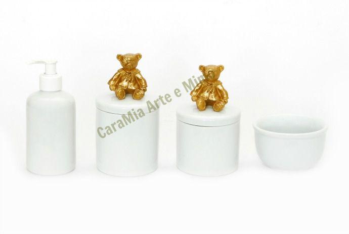 Kit Higiene Bebê Porcelana| Urso Dourado| 4 peças