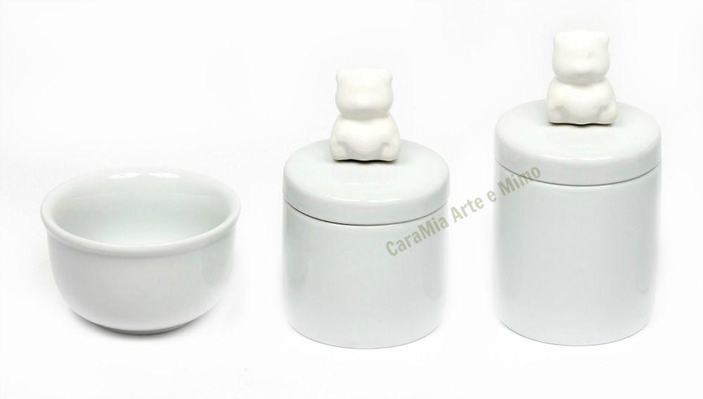 Kit Higiene Bebê Porcelana | Urso & Ursinho Branco | 3 peças