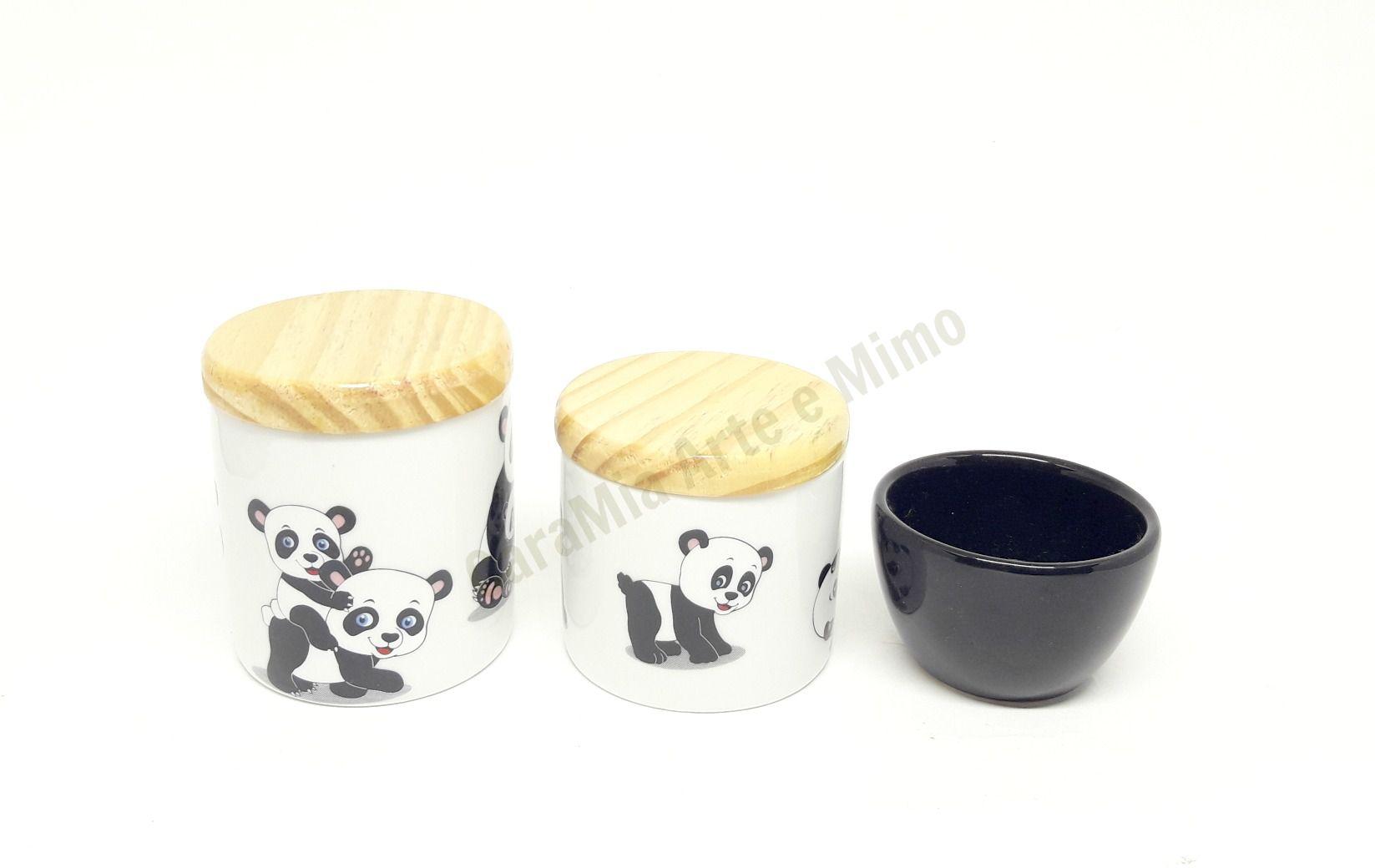 Kit Higiene Bebê Porcelana | Urso & Ursinho Panda | Tampas Pinus | 3 peças