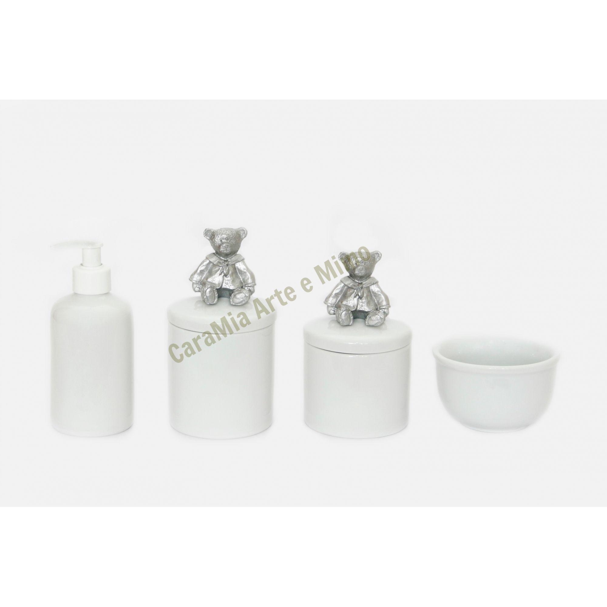 Kit Higiene Bebê Porcelana | Urso Prateado | 4 Peças |