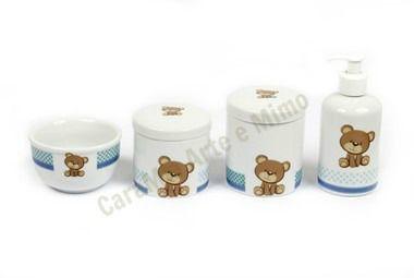 Kit Higiene Bebê Porcelana |Urso/ Ursinho com Faixa Azul | 4 Peças |