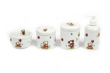 Kit Higiene Bebê Porcelana| Urso & Ursinho Fofinhos|  4 peças