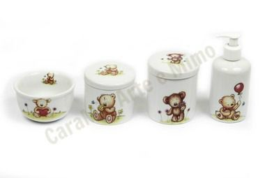 Kit Higiene Bebê Porcelana | Urso & Ursinho Incríveis com Balão| 4 peças