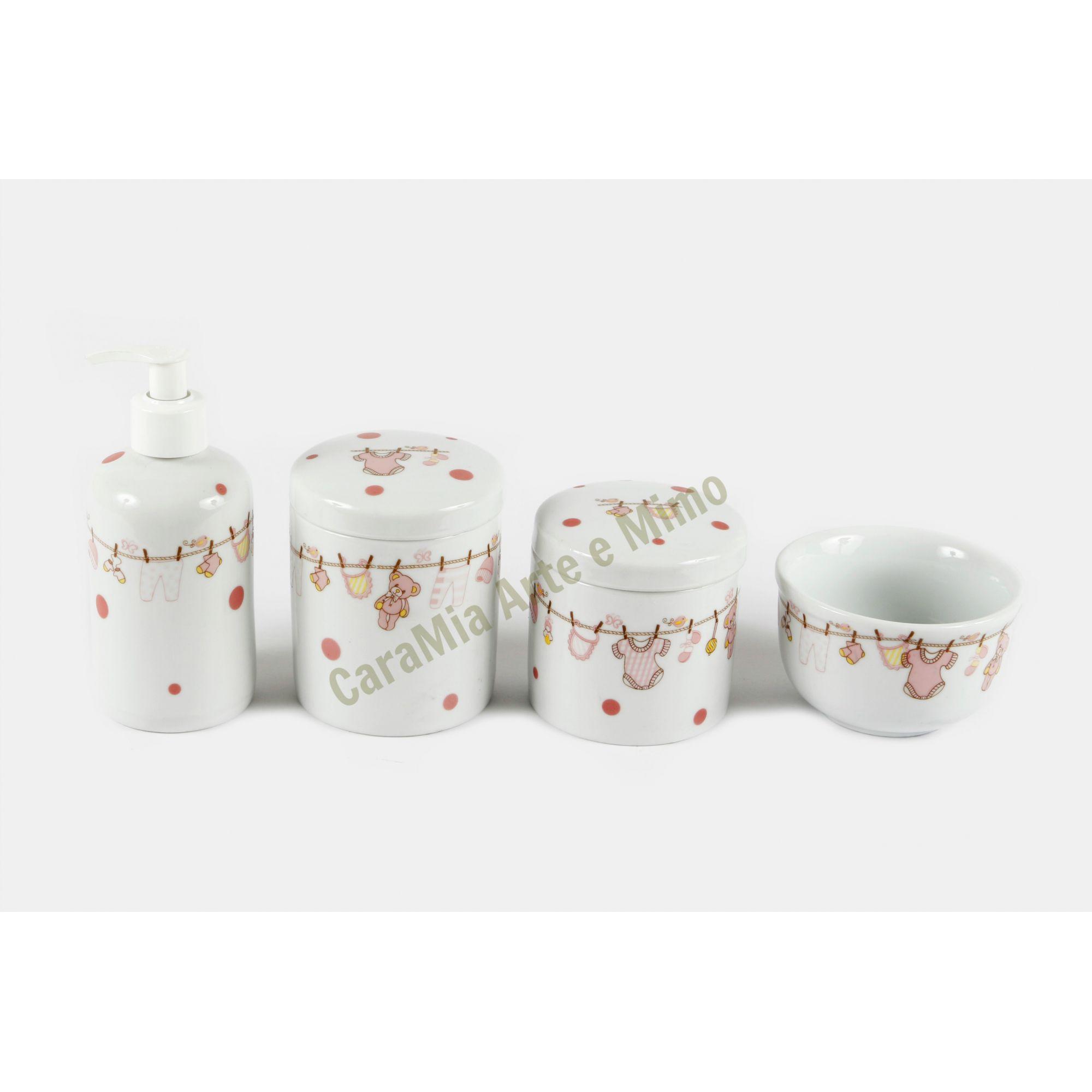 Kit Higiene Bebê Porcelana| Varal Rosa com ursinho e Poá| 4 peças