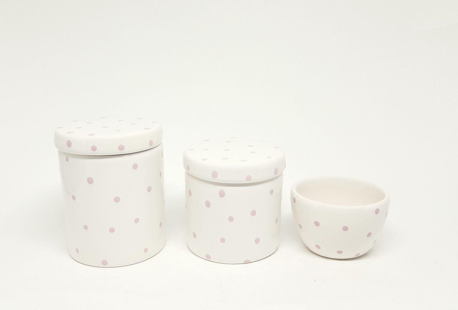 Kit Higiene Cerâmica   Poá Rosa   3 peças