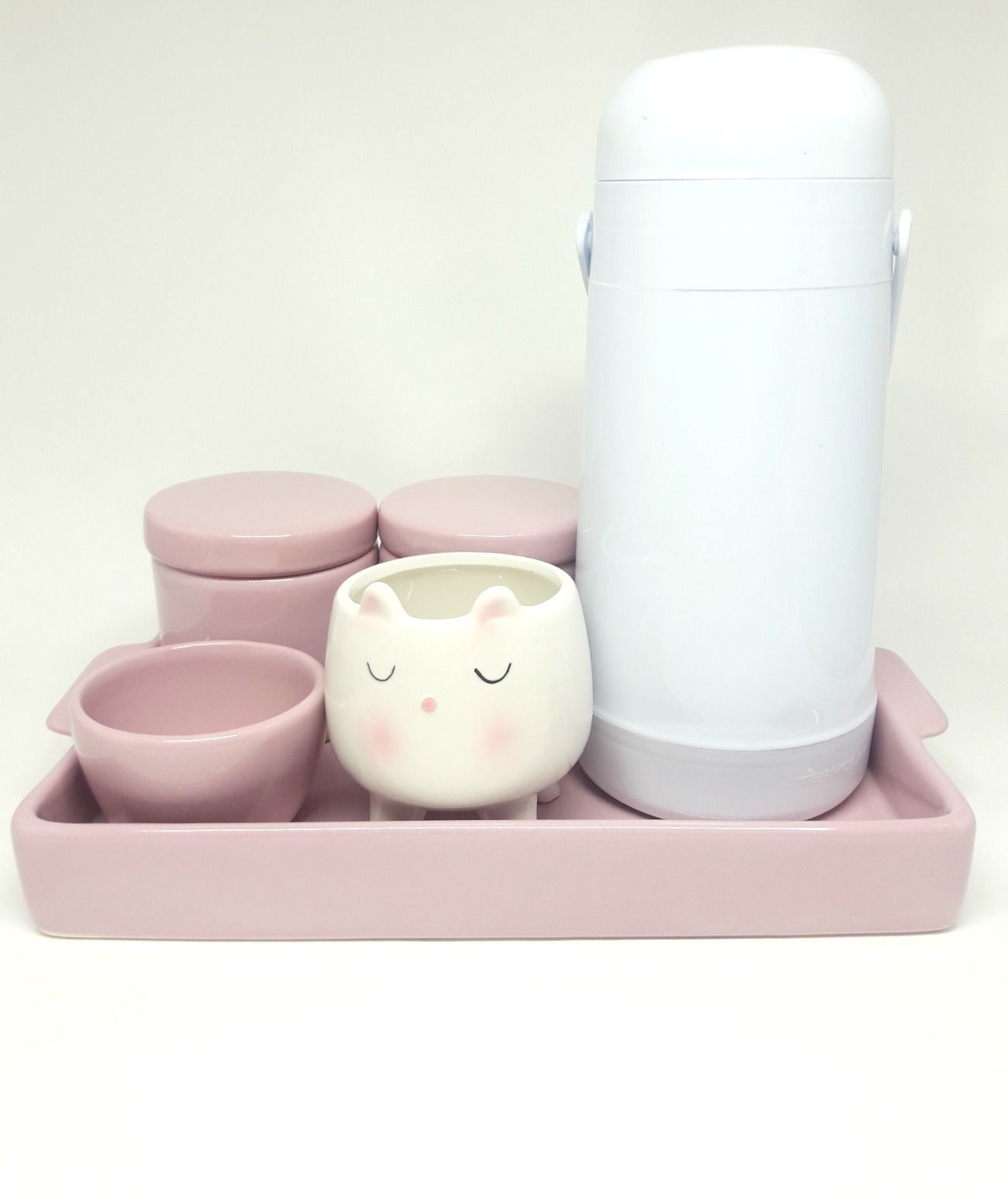 Kit Higiene Cerâmica Rosa Bebê com Cachepot & Bandeja & Garrafa