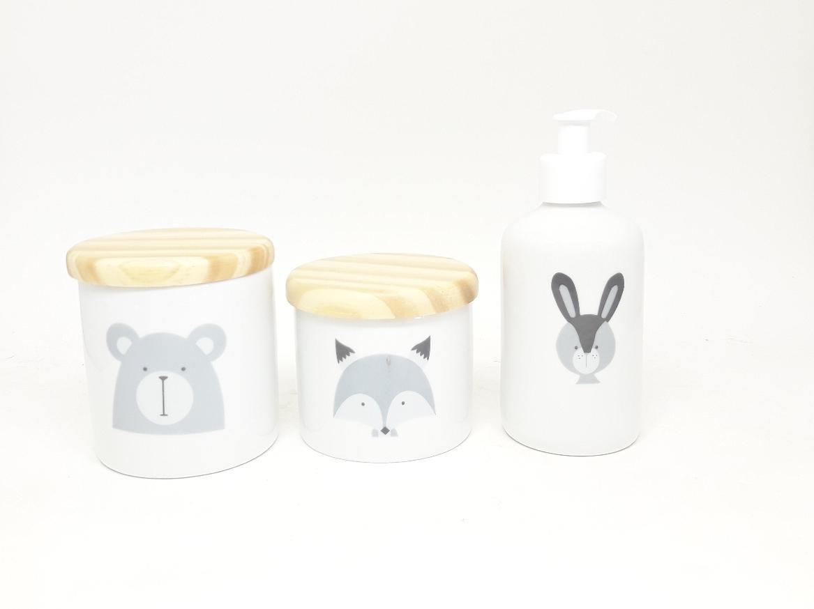 Kit Higiene Escandinavo Pinus com Dispenser e 2 Potes