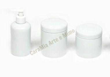 Kit Higiene / Kit Banheiro com Saboneteira Líquida e 2 Potes em Porcelana Branca