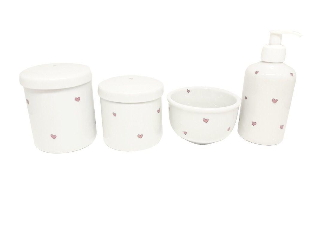 Kit Higiene Porcelana| Mini Coracão e Coracões Rosas | 4 peças