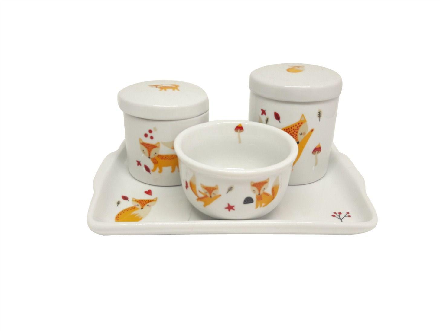Kit Higiene Porcelana Raposa Com Bandeja em Porcelana Decorada