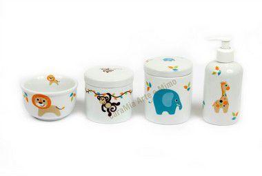 Kit Higiene Porcelana| Safari | Selva | Bichinhos| 4 Peças