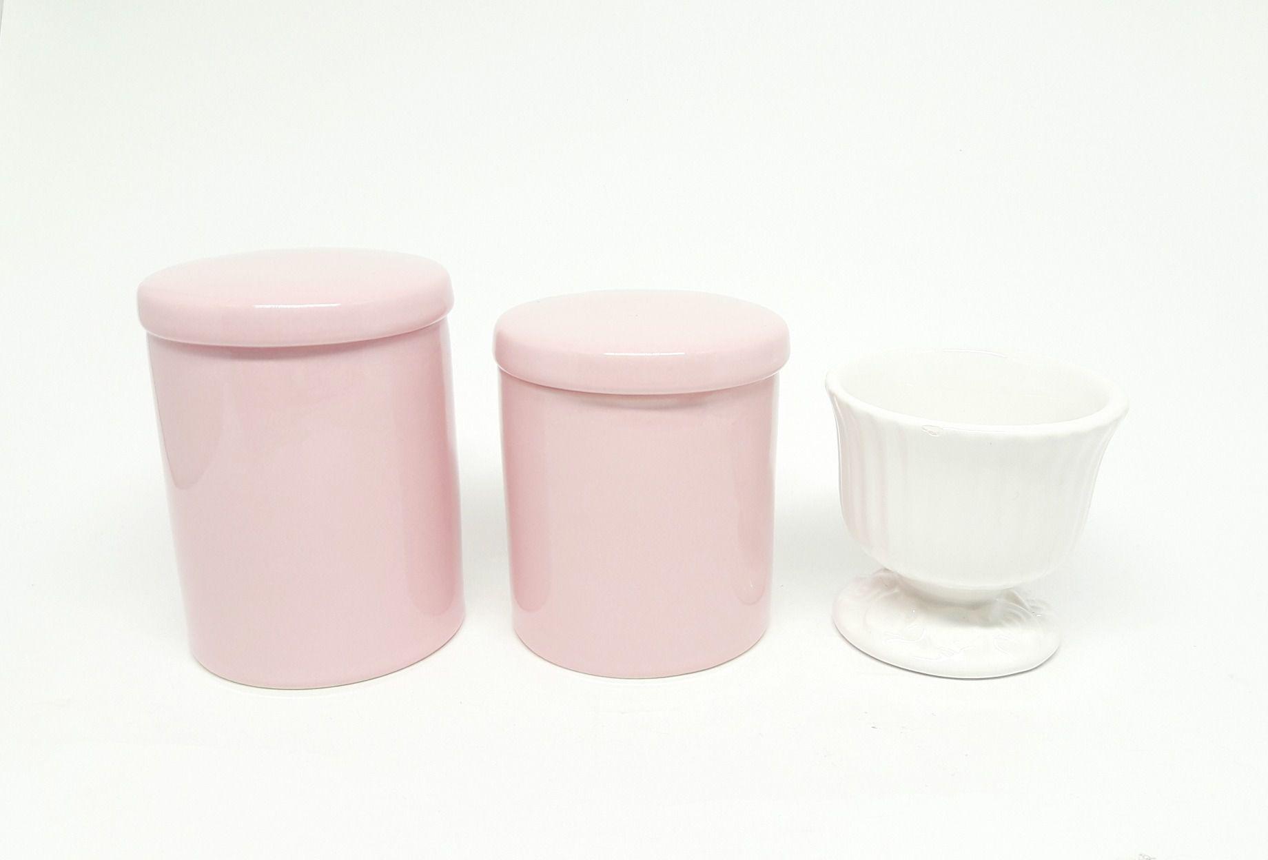 Liquidação | Kit Higiene Bebê Porcelana Rosa & Molhadeira Cerâmica off-white