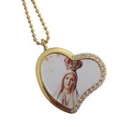 Colar Pingente Coração Nossa Senhora de Fátima