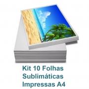 Serviço de Impressão em Folhas Sublimáticas A4