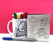 Kit Pintar Criativo – Caneca com Desenhos para Colorir - KitPC-001