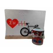 Mouse pad Gamer 25 x35 cm Bicicleta + caneca personalizada Art Bike