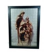 Quadro Decorativo Quebra-Cabeça Sagrada Familia de 165 peças + Terço Especial
