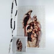 Quadro Decorativo Quebra-Cabeça Sagrada Familia de 300 peças + Terço Especial