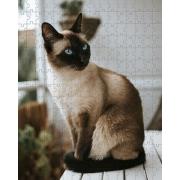 Quebra Cabeça Gato Siamês de 252 peças MDL05 + Chaveiro presente