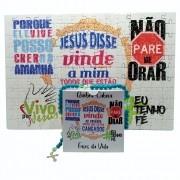 Quebra-Cabeça Religioso Frases de Fé de 165 peças + Terço Especial