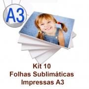 Serviço de Impressão em Folhas Sublimáticas A3