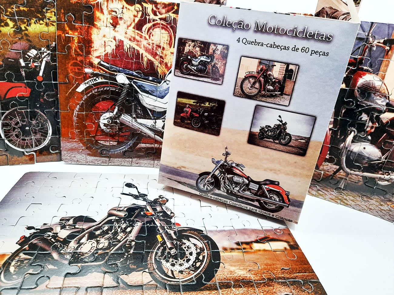 2 Quebra-Cabeça Cognitivo Reabilitação para Idosos - Motocicletas de 24, 48 ou 60 peças