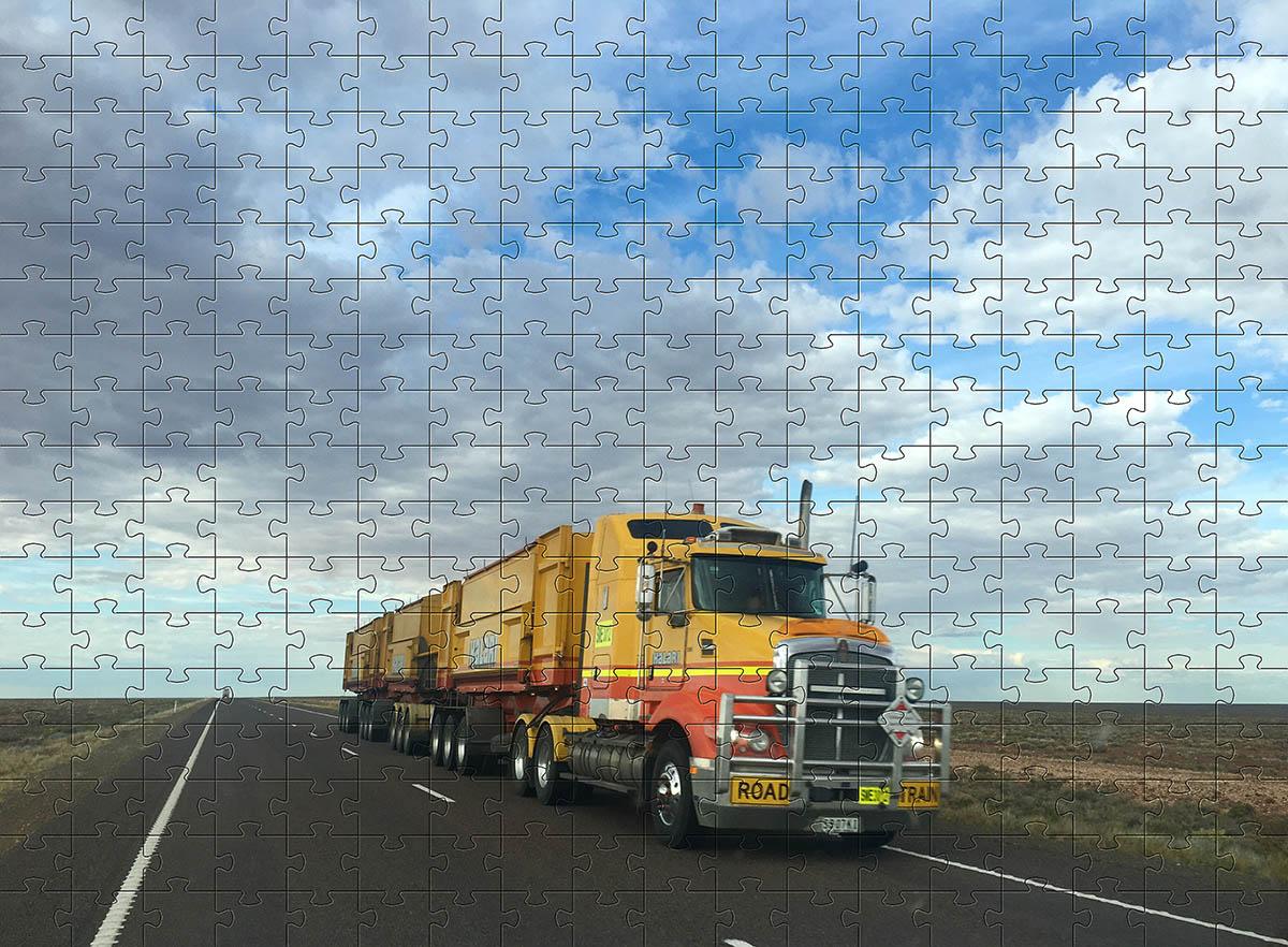 4 Quebra-Cabeça Cognitivo Reabilitação para Idosos - Caminhões 24,48 ou 60 peças