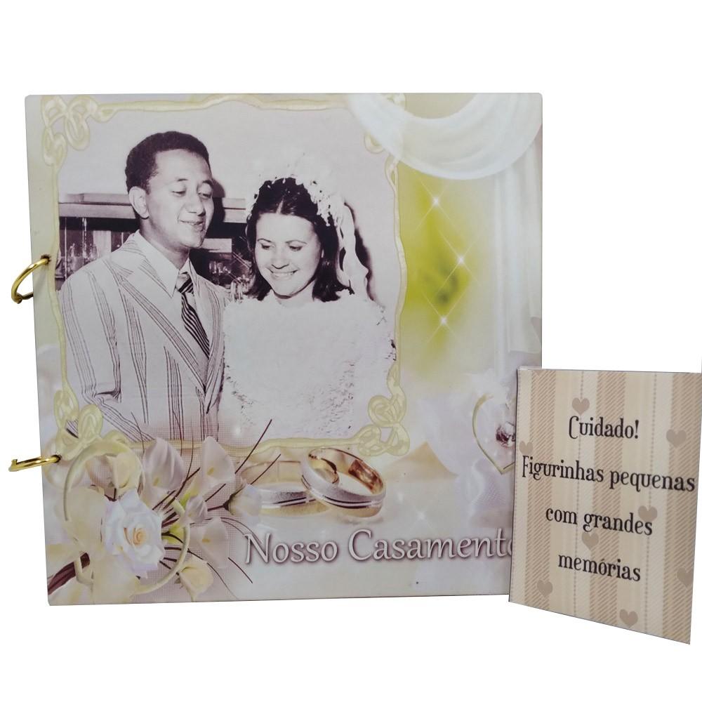 Álbum de Figurinhas personalizado Casamento em MDF - Lançamento Exclusivo