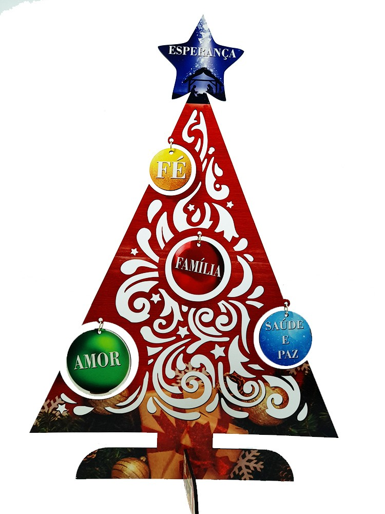 Arvore de Natal Jingle em MDF personalizada com palavras