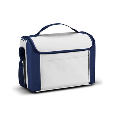 Bolsa Térmica com Bolso Frontal de 8L para Sublimação na Cor Branca/ Azul - Tamanho 27 x 20 x 16cm