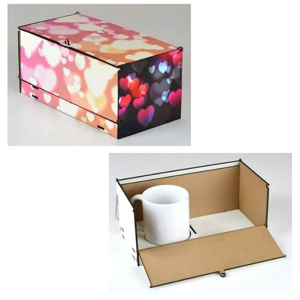 Caixa de Caneca Presente em MDF (1 Caneca) - CXMDF-024