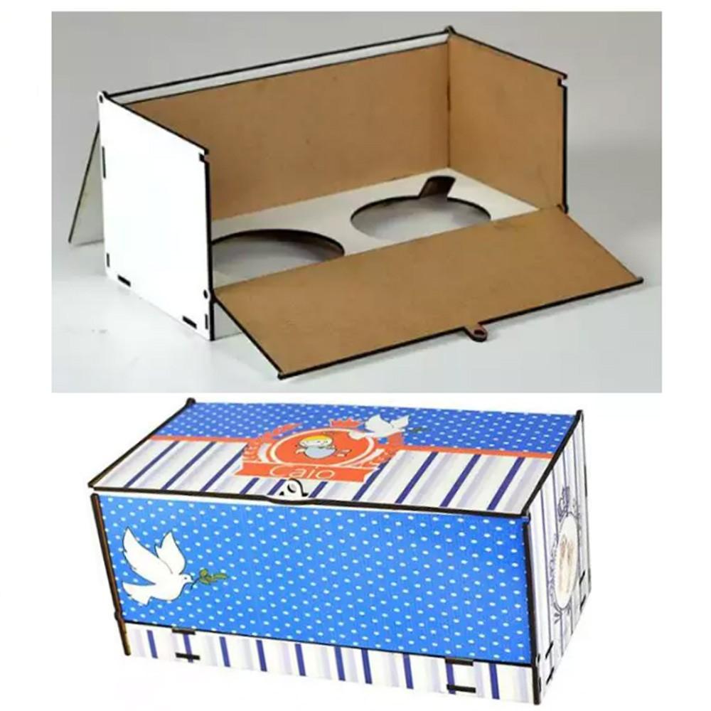 Caixa de Caneca Presente em MDF (2 canecas) - CXMDF-023